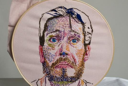 Needlework portrait by Kim Brewer