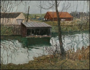 Boathouse on the Canal, PA  by Walter Schofield, one of the paintings from Spanierman Galleries to be auctioned at Doyle