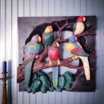 Nashville Antiques Shows: Five Parrots Carved Piece from Francis Crespo