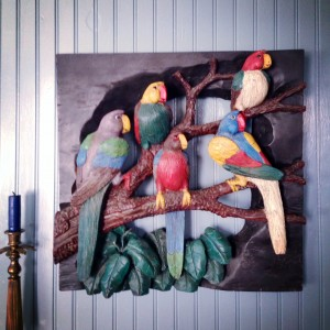 Five Parrots Carved Piece from Francis Crespo