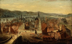 """Pittsburgh after the Fire from Boyd's Hill"" by William Coventry Wall at Carnegie Museum of Art"
