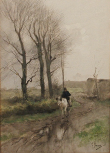 Portrait of a Rider on Horseback by Anton Mauve Sold for $10,073 at Skinner (A Watercolor Gem by a Leading Hague School Artist)