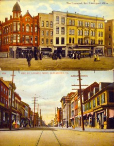Main Streets Postcards, Top: East Liverpool, OH, Bottom: Alexandria, VA
