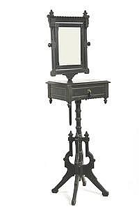 Lot 710: Aesthetic Pd Black Lacquered Shaving Stand c1875