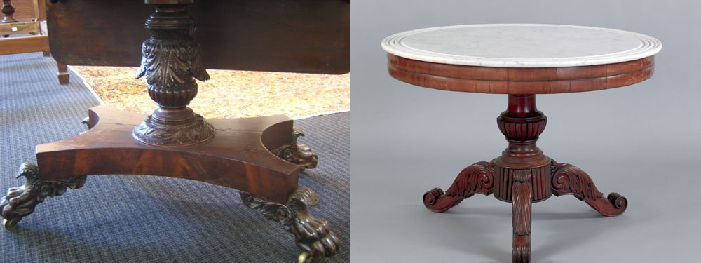 A Philadelphia classical mahogany pembroke table (left) and a Baltimore classical mahogany center table (right)