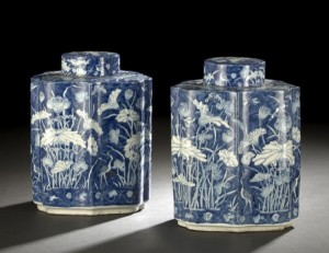 Pair of Chinese Tea Caddy from New Orleans Auction