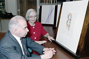 Dorothy and Herbert Vogel look at a drawing by Richard Tuttle from their collection in the Print Study Room, National Gallery of Art, 1992. Photo by Lorene Emerson, National Gallery of Art, Washington, D.C., Gallery Archives.