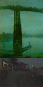 Top:Nocturne in Blue and Gold: Old Battersea Bridge by Whistler, Bottom: Adobe By Peters