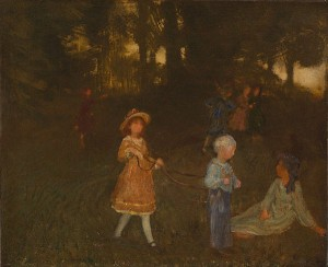 "Arthur Bowen Davies, ""Children Playing,"" ca. 1896, oil on canvas, 18 x 22 inches (Spanierman Gallery, LLC)"