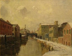 """""""Morris Canal, Newark, NJ"""" by Gustave Wolff, 16 x 20 in., at Freeman's"""